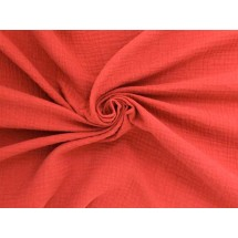 Coupon double gaze coton corail, 45x65cm